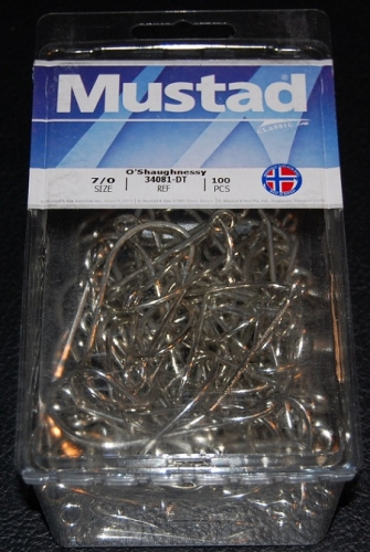 Mustad 34081-DT Duratin O'Shaughnessy Large Ring Hooks - Size 7/0